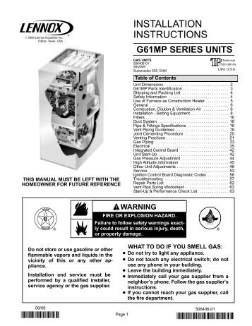 armstrong gas furnace installation manual